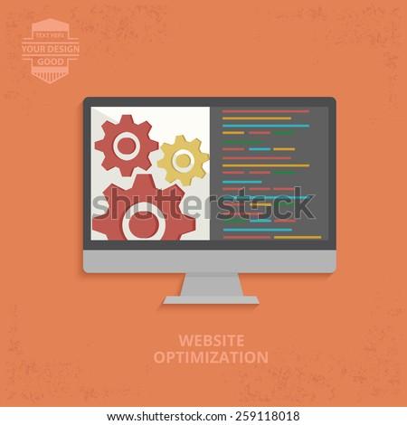 Website optimisation design on orange background,grunge vector