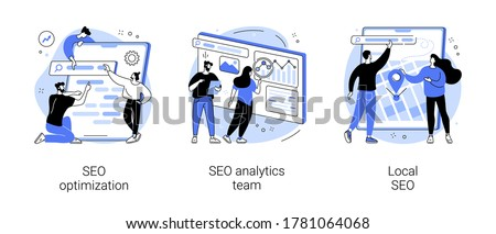 Website optimization abstract concept vector illustration set. SEO analytics team, local SEO, search engines page rank, keyword and link building, internet promotion, visibility abstract metaphor.