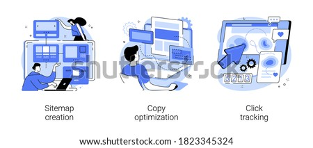 Website optimization abstract concept vector illustration set. Sitemap creation, copy optimization, click tracking, SEO analytics software, online business, target keyword, web text abstract metaphor.
