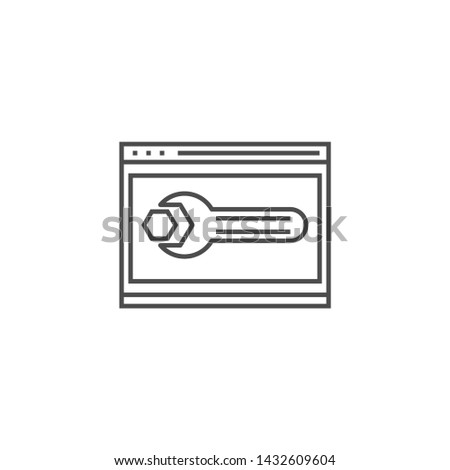 Website Optimization Related Vector Thin Line Icon. Isolated on White Background. Editable Stroke. Vector Illustration.