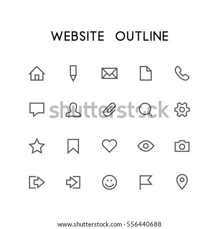 website outline icon set   home