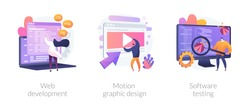 Website programming and coding. Computer animation designer. Bug fixing. Web development, motion graphic design, software testing metaphors. Vector isolated concept metaphor illustrations