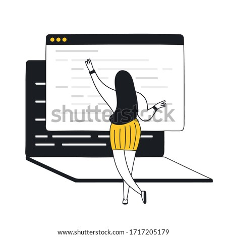 Website programming and coding concept. Cartoon woman in front of laptop display editing lines of code. Web development, software testing and bug fixing. Flat line vector illustration on white