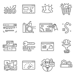 Website promotion, SEO icons set. Search engine optimization, thin line design. Process to promote site in the search engine, linear symbols collection. isolated vector illustration.