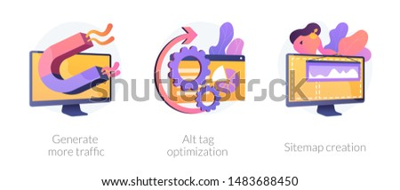 Website promotion services icons set. Search engine optimization business. Generate more traffic, alt tag optimization, sitemap creation metaphors. Vector isolated concept metaphor illustrations.