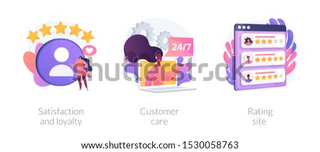 Website ranking icons cartoon set. Desktop chat messages. Technical support, hotline. Satisfaction and loyalty, customer care, rating site metaphors. Vector isolated concept metaphor illustrations