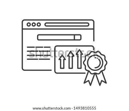 Website ranking line black icon. Engine optimization growth sign. SEO success vector pictogram. Pictogram for web page, mobile app, promo. UI/UX/GUI design element.