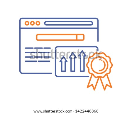 Website ranking line color icon. Engine optimization growth sign. SEO success vector pictogram. Pictogram for web page, mobile app, promo. UI/UX/GUI design element.