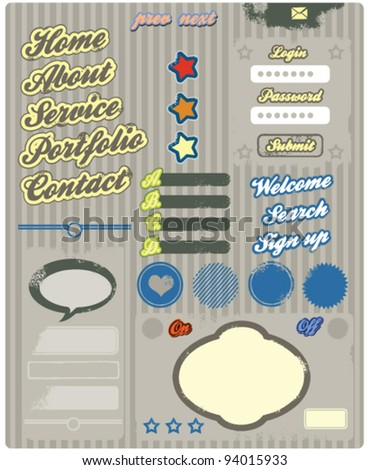 website retro design elements web buttons vintage style - stock vector