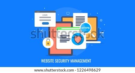 Website security, website management, Security internet flat design vector banner concept