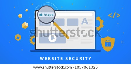 Website Security with https SSL certificate encryption. Browser window with HyperText Transfer Protocol Secure url in web address bar. Transport Layer Security, Advantage TLS. Flat vector illustration Foto d'archivio ©