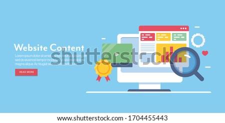 Website SEO, Content SEO, Website optimization, Digital marketing - conceptual flat design vector banner with icons