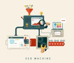 Website SEO machine, process of optimization. Flat style design