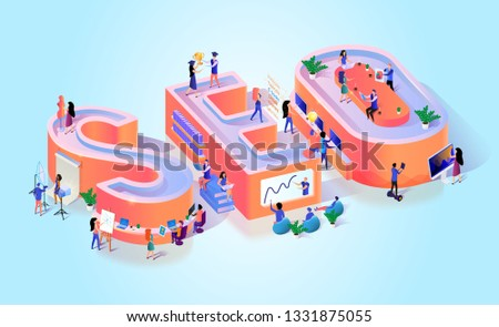 Website Seo Traffic Optimization Typography Banner. Search Engine Result Improve Service. Optimize Data Content for Marketing Kpi Performance Growth Motivation Isometric 3d Vector Illustration