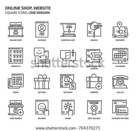 Website shop, square icon set. The illustrations are a vector, editable stroke, thirty-two by thirty-two matrix grid, pixel perfect files. Crafted with precision and eye for quality.