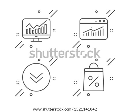 Website statistics, Statistics and Scroll down line icons set. Shopping bag sign. Data analysis, Financial report, Swipe arrow. Supermarket discounts. Business set. Vector