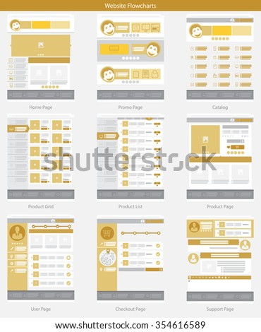 Website structure and Gold Web template simple vector