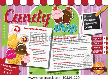 Website template design elements, vintage style, candy shop