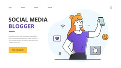 Website template design for a female Social Media Blogger with copyspace as she holds up her smartphone on view surrounded by media and communication internet icons, outline vector illustration