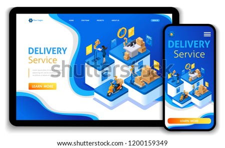 Website template design. Isometric concept Delivery serves. Express delivery, online order, call center. Easy to edit and customize landing page, Responsive.