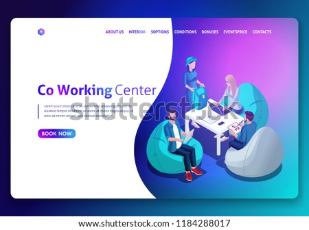 Website template design. Isometric concept Open workspace and coworking. Landing page concept.3D isometric vector illustration. Easy to edit and customize.