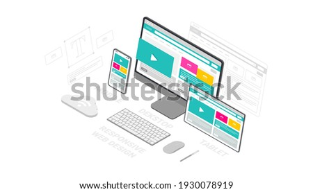 Website template design. Modern vector illustration 3d isometric of web page design for website and mobile website development. Easy to edit and customize.