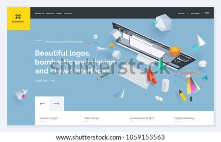 Website template design. Vector illustration concept of web page design for website and mobile website development. Easy to edit and customize.