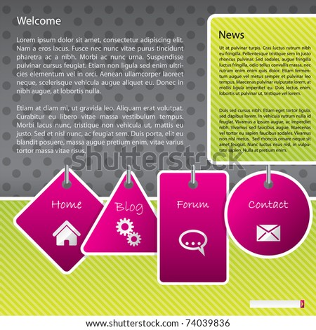 Website template design with hanging labels