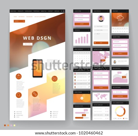 Website template design with interface elements. Bokeh defocused backgrounds. Vector illustration. #1020460462