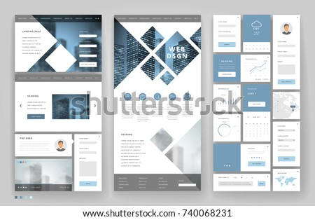 Website template design with interface elements. Business city backgrounds. Vector illustration.