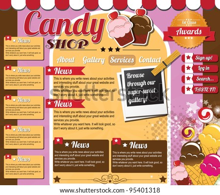 Website template elements, vintage style, candy shop