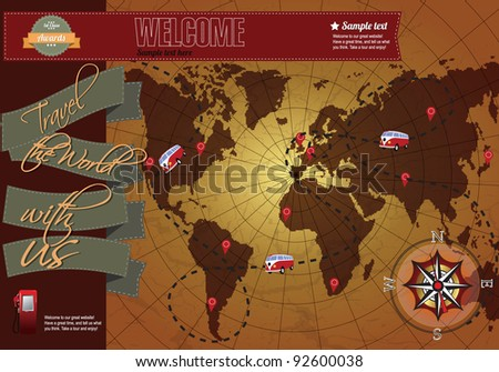 Website template elements, world map with compass, vintage style