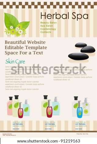 Website template for spa or beauty salon. Vector brochure flyer design.