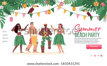 Website template for summer beach party with Hawaiian Hula dancers, cartoon vector illustration. Hawaiian tropical party landing page mockup with dancing people.