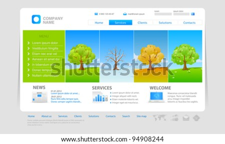 Website template: four seasons - stock vector