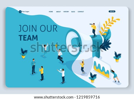 Website Template Landing page Isometric concept join our team, can use for, ui, ux web, mobile app, poster, banner. Easy to edit and customize.