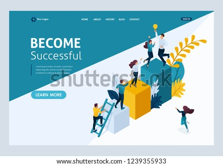Website Template Landing page Isometric concept young entrepreneurs, start up project, successful business, ladder to success. Easy to edit and customize