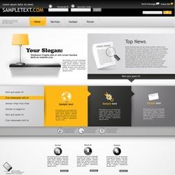 Website Template, orange and grey color