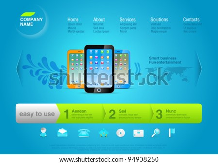 Website template: Product web promo Vector page Design. Smartphones.