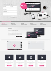 Website Template Vector Design with realistic still life illustration, tablet, coffee, notebook.