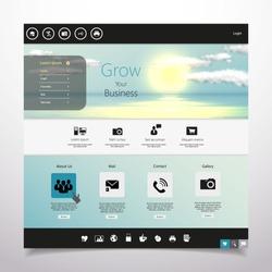 Website template Vector. with photorealistic sunrise, sea illustration.