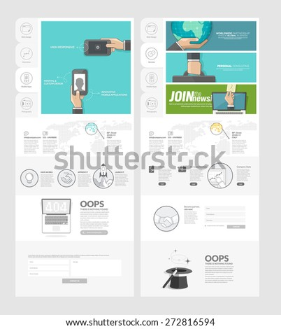 Website Template With Concept Icons For Business Company Set Of – Company Portfolio Template