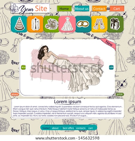 Website template with wedding elements. Seamless texture included. Vector illustration EPS10