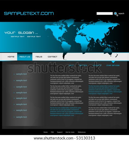 Website Template With World Map, Easily Editable, Vector ...