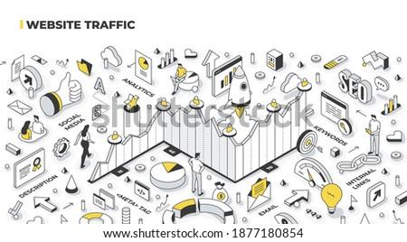 Website traffic concept. Traffic growth is shown in the chart. Digital marketing metrics statistics analysis. Isometric vector illustration