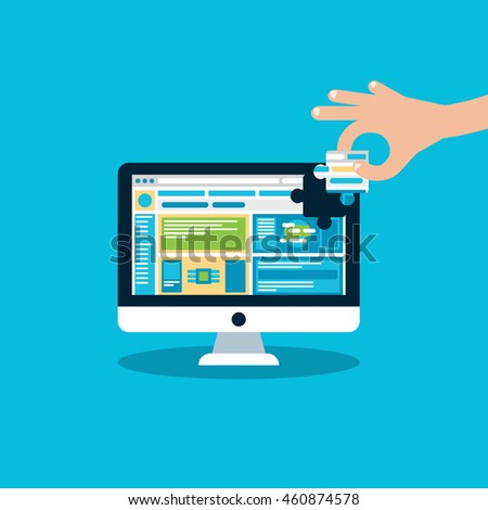 Website under construction, hand pick missing part of site puzzle. piece In hand. Flat Vector Illustration. #460874578