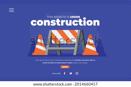Website under construction page. Web Page Under Construction. Website under maintenance page. Web Page Under maintenance. Flat isometric vector illustration banner design isolated on white background.