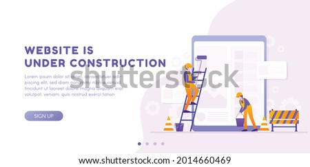 Website under construction page. Web Page Under Construction. Website under maintenance page. Web Page Under maintenance. Flat isometric vector illustration banner design isolated on white background. Photo stock ©