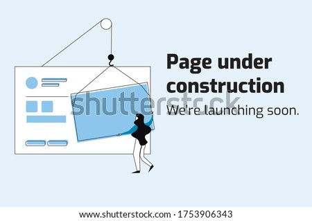 Website under construction, we're launching soon. Flat style vector illustration.Blue tones, person placing a photograph. For website, home page, template, ui, web, mobile app, poster, banner, flyer.