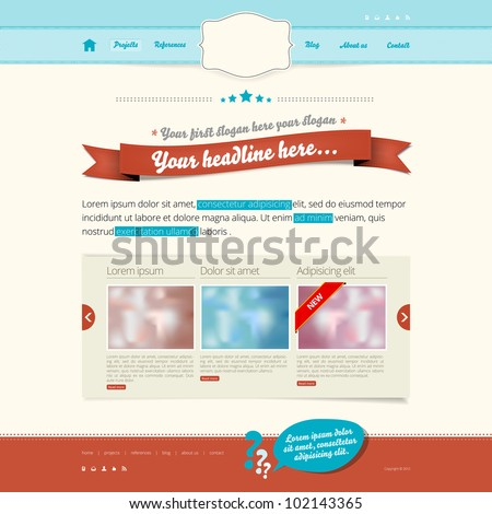 Website vector template - modern retro design